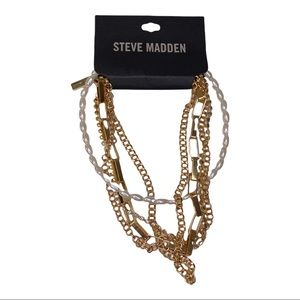 Steve Madden multi layer gold necklace NWT